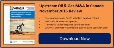 Upstream M&A in Canada exceeds Cdn$1.5 billion in November 2016