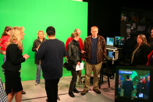 Everyone in front of the green screen!