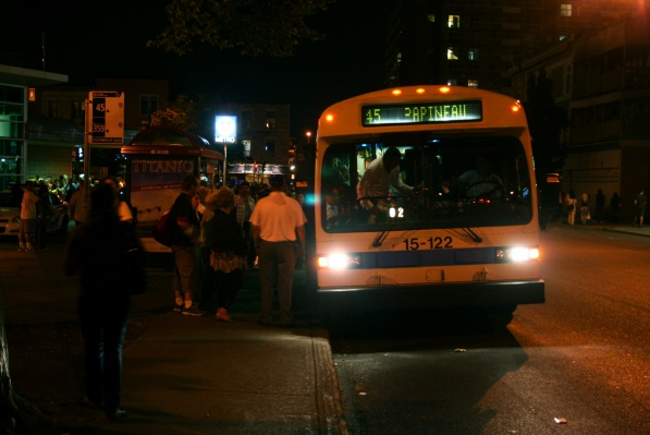 Passengers board the 45 Papineau after fireworks