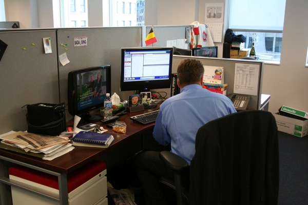 A reporter's desk (in this case, Domenic Fazioli)