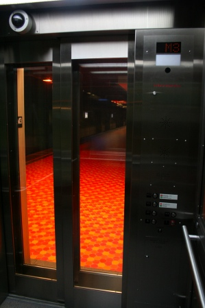 Inside a new elevator at Lionel-Groulx