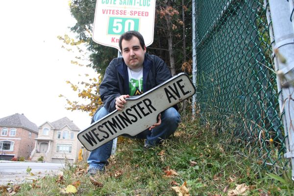 Me with the Westminster Ave. sign