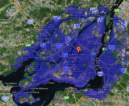 Google Street View coverage map for Montreal