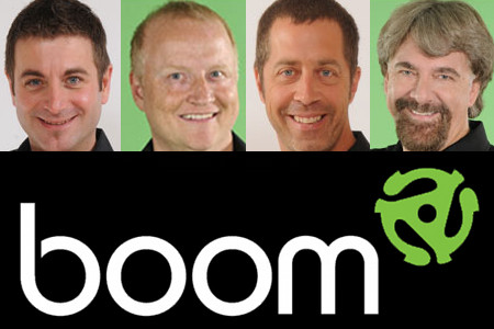 Boom FM's laid-off staff, according to the Courrier St-Hyacinthe (from left): John Perron, Daniel Charlebois, Patrice Lemieux, Marc Perrault