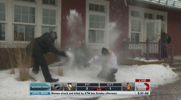 Yannick Gadbois, Jessica Laventure and Sylvain Trudeau have a snowball fight on camera