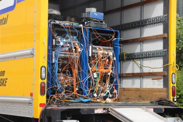 In the same truck, wires everywhere.