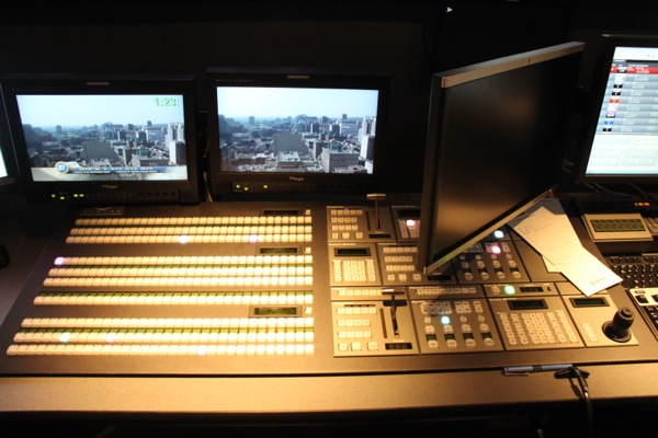 The big board in the control room: Look at all those buttons!