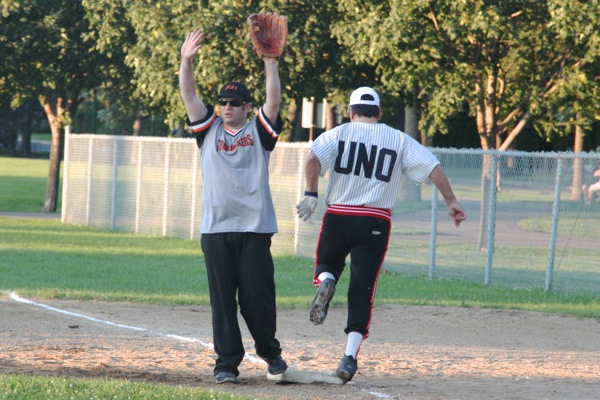 """Frank """"UNO"""" Cavallaro makes it to first base."""
