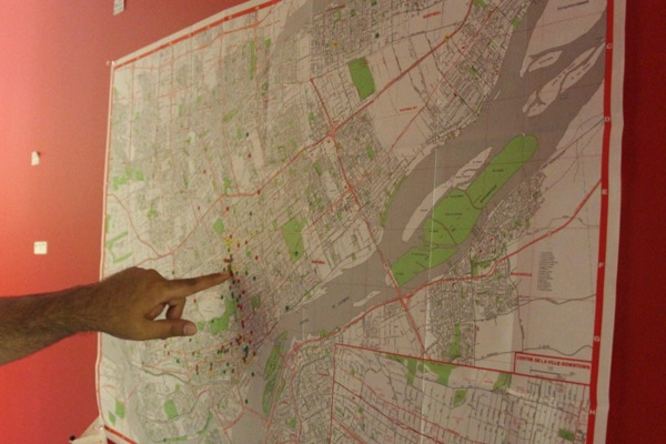 A map at Whalley-Abbey Media's office shows locations where Only in Montreal has shot stories