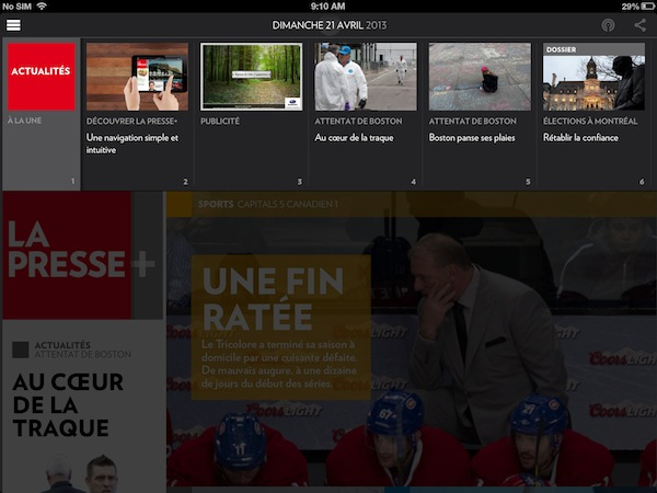 Thumbnails of pages in the La Presse+ app. They're useful, if you know that you have to tap the bar at the top of the app to show them.