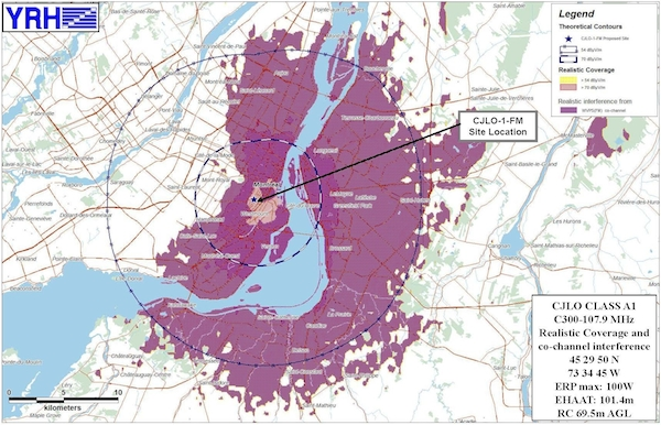 A map of potential interference between VPR and CJLO on 107.9 FM, based on terrain data, created by Yves R. Hamel and Associates (click for larger)