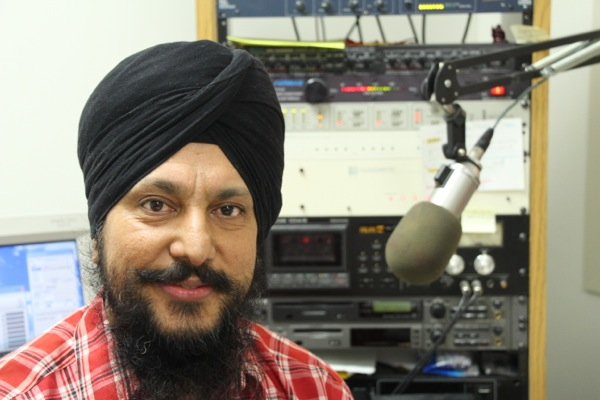 Jasvir Sandhu in the Radio Humsafar studio in Lasalle.