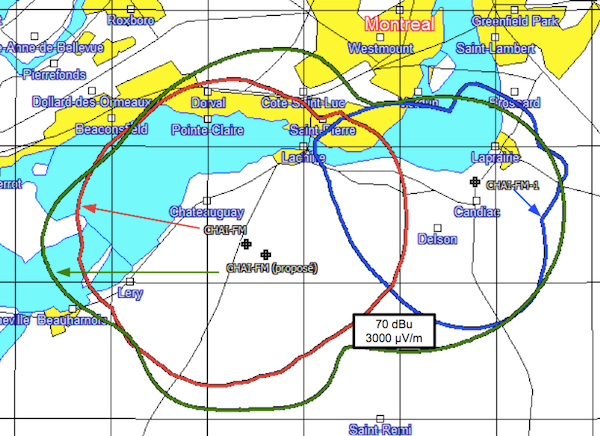 CHAI-FM proposal: A new transmitter (green) replaces the two old ones (red and blue).