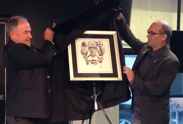 Cartoon of Ted Blackman unveiled by Pat Donvito and Mitch Melnick