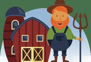 barn-farmer-pitchfork-blue-sky