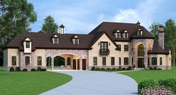 French Country House Plan with 3,302 Square Feet