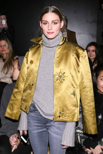 Olivia Palermo wears a Noon By Noor Pre-Fall 2016 Embellished Bomber Jacket