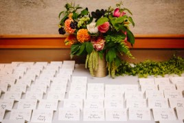 Escort Card, Dahlia Centerpiece, Maidenhair Fern
