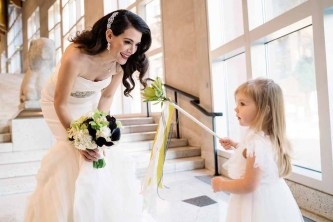 Flora Nova Design Seattle - Contemporary Black and White Seattle Art Museum Wedding. Flower Girl.