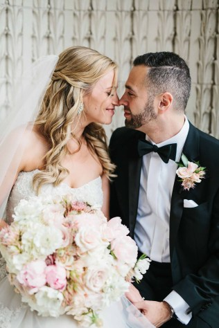 Flora Nova Design Seattle - Bride and Groom with blush wedding bouquet