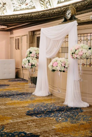 Flora Nova Design Seattle - Classic blush wedding arch at Arctic Club