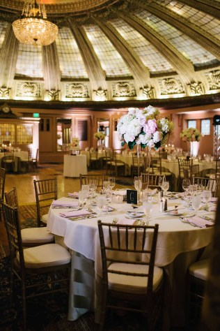 Flora Nova Design Seattle - Classic Blush wedding reception at the Arctic Club with peonies and hydrangea