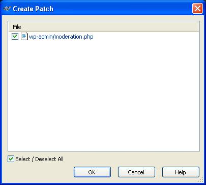 SVN Diff file select