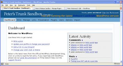 WordPress Version Check with WordPress-2.0-RC1