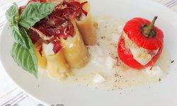 Paccheri ripieni con Mozzarella Melanzane di Rotonda e Speck