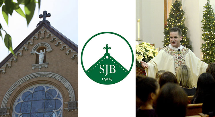 St. John Berchmans: images of the church exterior, the church logo, and Fr. Wayne Watts