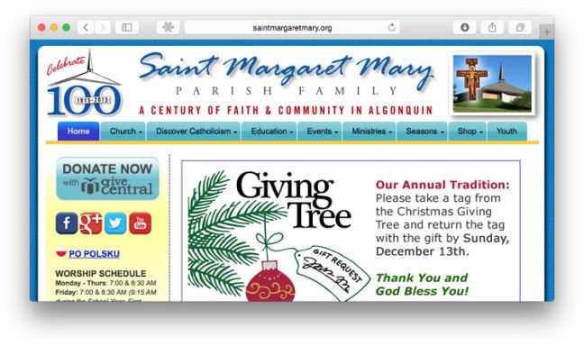 a screen shot of St. Margaret Mary's home page featuring Christmas messaging and a donation button