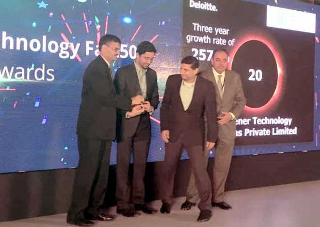 Yash and Mayank receiving the Deloitte Technology Fast 50 Award