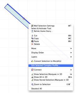 Edit Selected Complex Profile