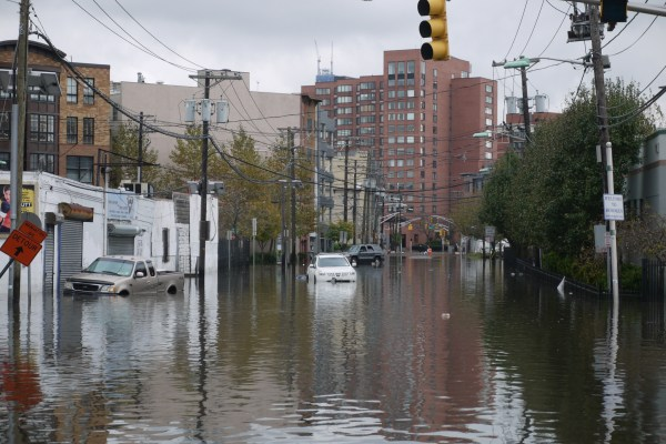 A flooded street in The Heights Section of Jersey City.