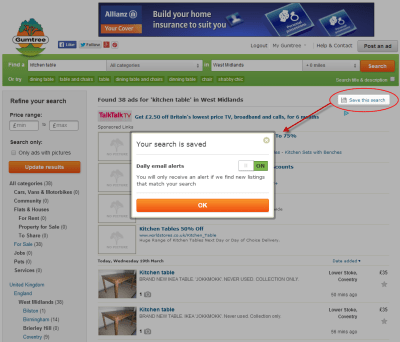 Save your searches – and save time! | Gumtree