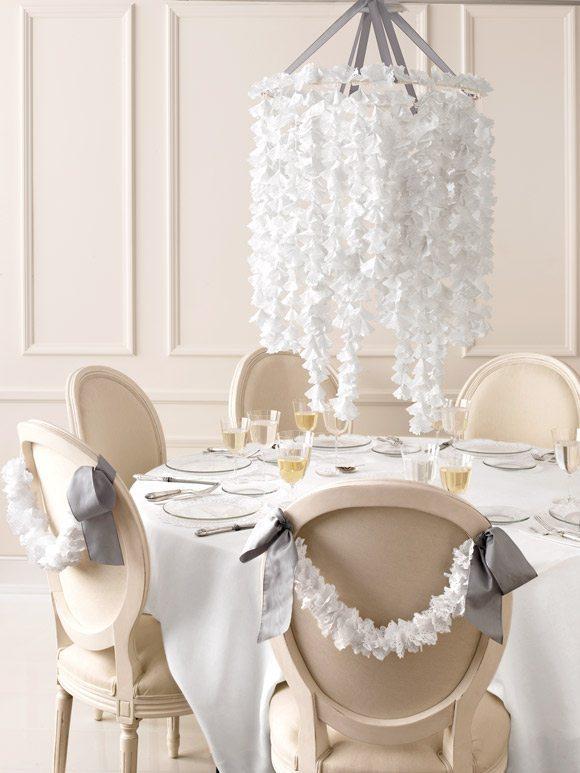 décoration DIY facile chaise et chandelier napperon papier dentelle