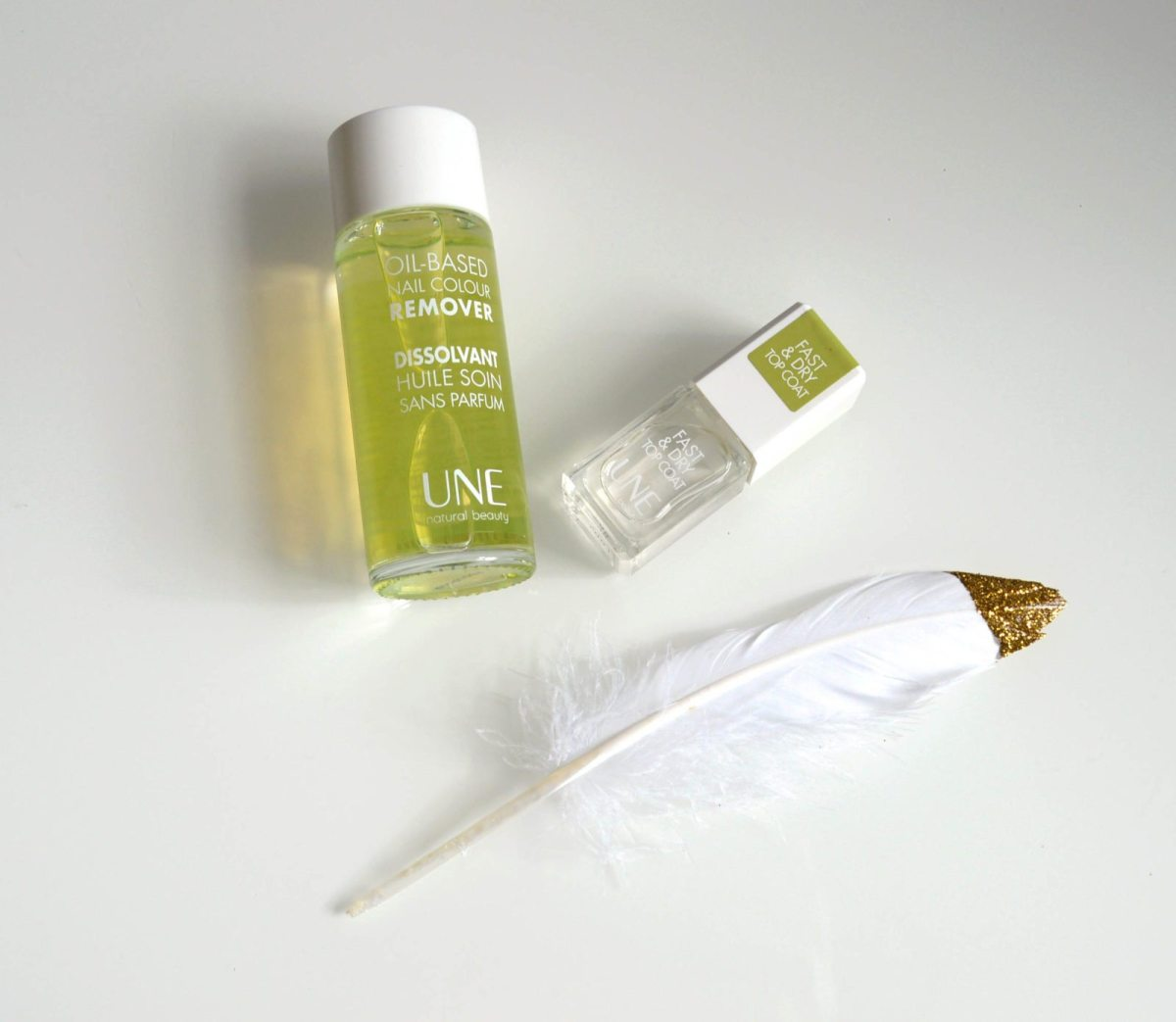 Une: Dissolvant naturel - Natural nail colour remover + Fast & dry top coat