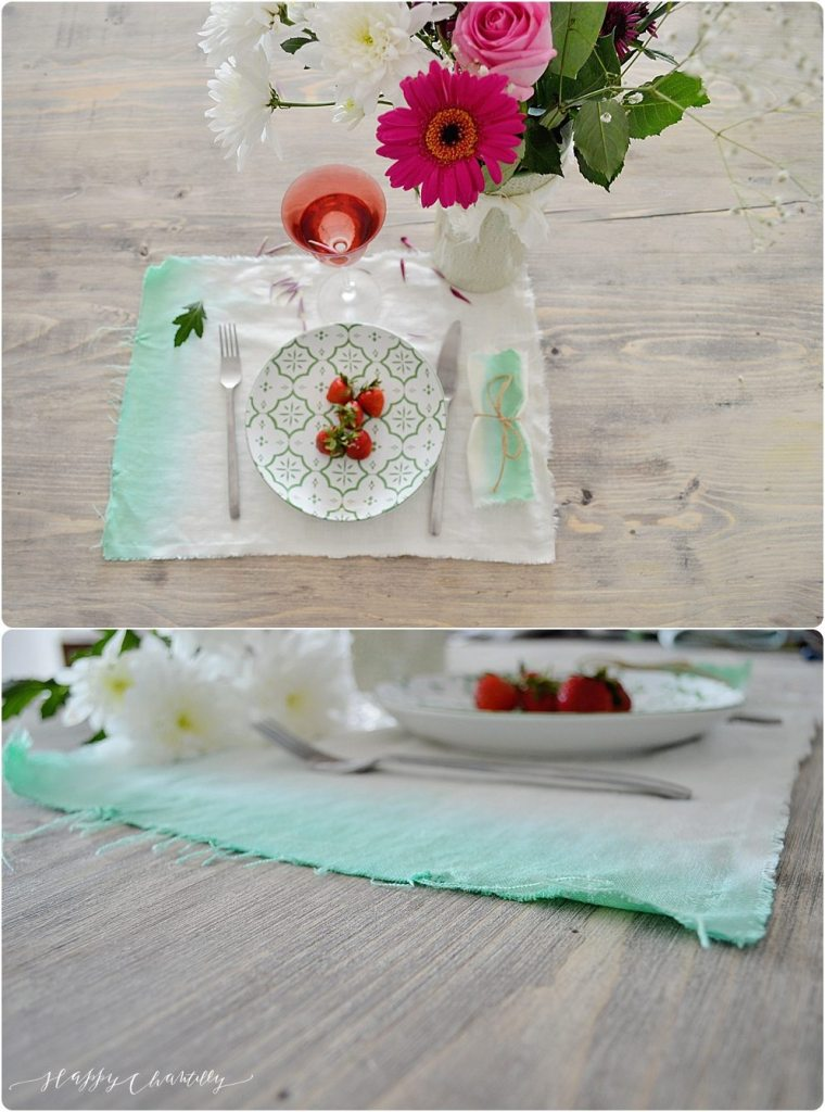 Diy set de table en lin et dip dye happy chantilly - Set de table en lin ...