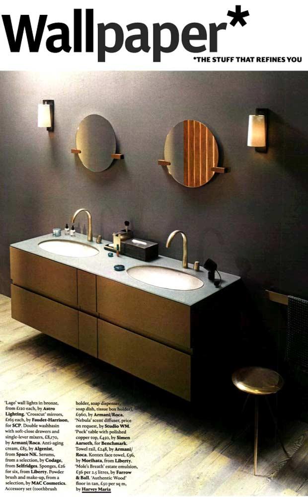 Wood effect bathroom floor in magazine