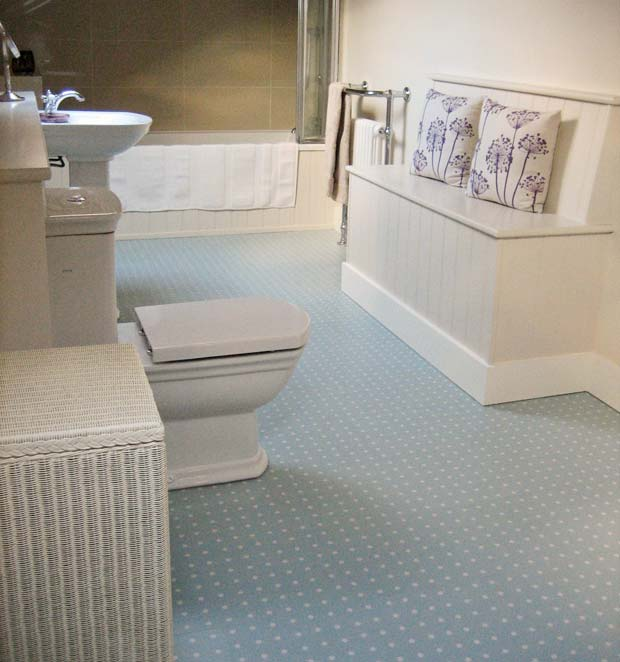 Blue spot vinyl bathroom floor