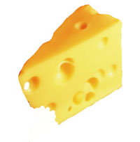 Slice of swiss cheese with holes