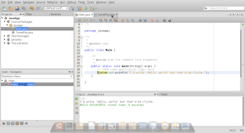 The main screen of NetBeans