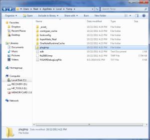 how to delete temp folder