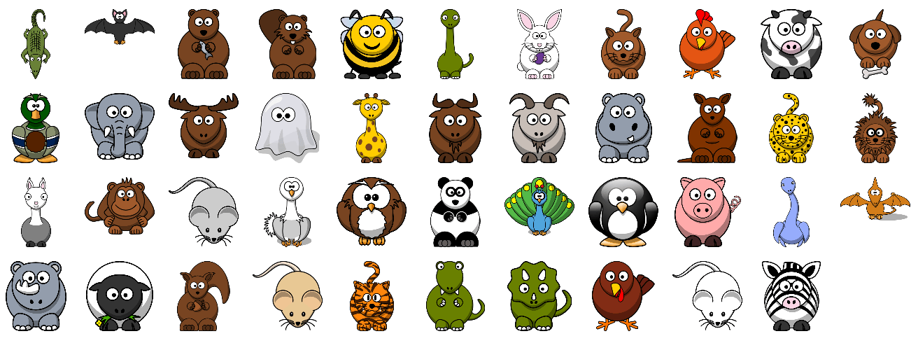 Set of 40 cute cartoon animals hathix cartoon animals the all 43 cute cartoon animals in the hathix cartoon animal set click to enlarge voltagebd Gallery