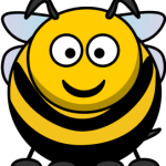 cute, adorable cartoon bumblebee honey bee yellow jacket with big eyes