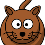 cute, adorable cartoon cat with big eyes and whiskers and tail