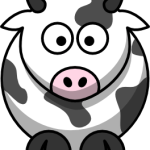 cute, adorable cartoon cow with big eyes and spots