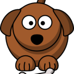 cute, adorable cartoon dog with big eyes and bone