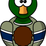 cute, adorable cartoon duck with big eyes and t-shirt