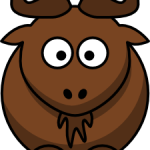 cute, adorable cartoon wildebeest gnu moose with big eyes